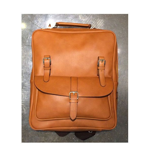Korea New Men Women Rusi Backpack School Travel Business Bag Faux Leather Camel
