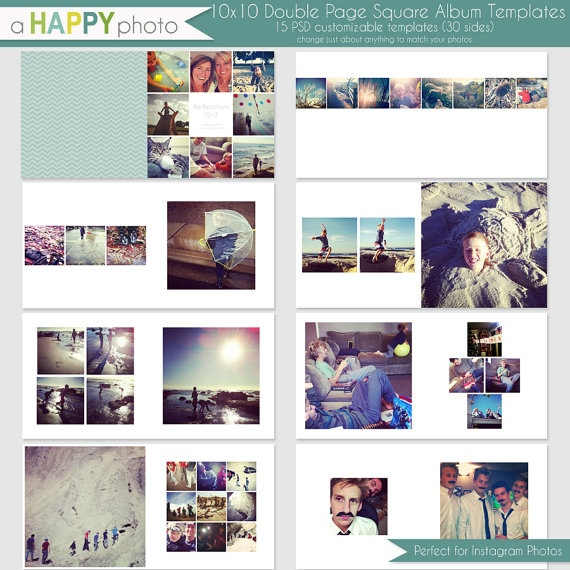 Photo Page: 10x10 Instagram Square Album Template 15 Double Page