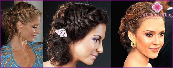 Haar bruid: weven in de Griekse stijl op de losse haren met een sluier
