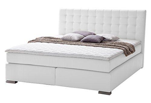 Meise Möbel 4288-13-6BH2 Boxspringbett ISA Hotelbett mit moderner Steppung Bonell, 7-Zonen Taschenfederkern Matratze H2 und Visco Topper Lederimitat, 200 x 200 x 115 cm, weiß