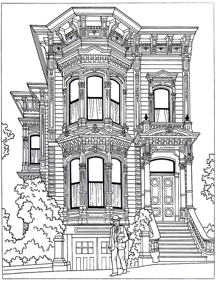 victorian mansion coloring pages - photo#25