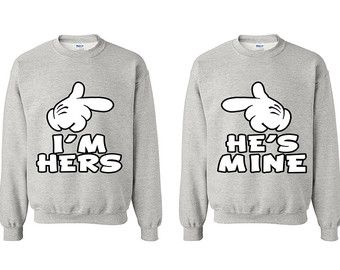 Valentine's Day He's Mine I'm Hers Couple Sweaters Matching Couple Sweater Pärchen Matching Sweatshirts for Couple Cute Couple Gifts for Him