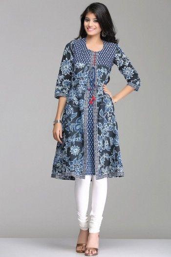 Stylish Blue Floral A-Line Jacket Style Cotton Kurta By Farida Gupta