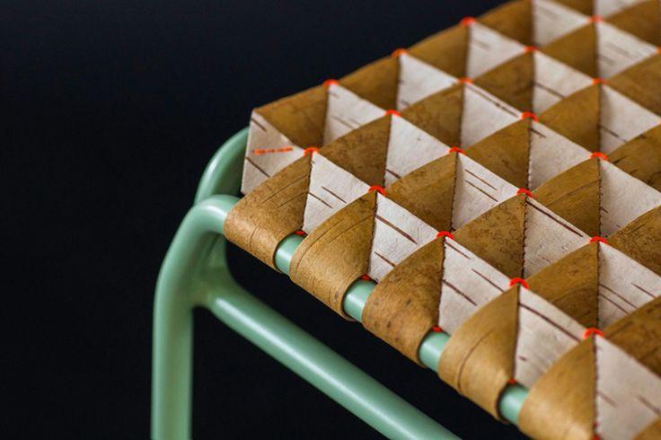 Anastasiya Koshcheeva continúa trabajando para instalar la artesanía de Siberia en la escena del diseño contemporáneo con este taburete con asiento de corteza