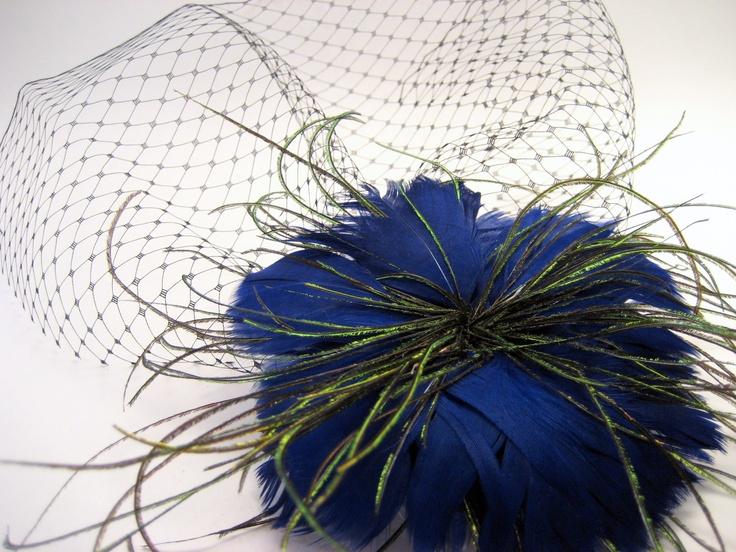 Dr Who Inspired Blue Birdcage Veil Blusher - steampunk wedding
