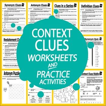 FIFTEEN NO PREP hands-on Worksheets and Practice Activities that focus on Synonym and Antonym Clues, Definition and Restatement Clues, Example Clues, and Context Clues in a Series.