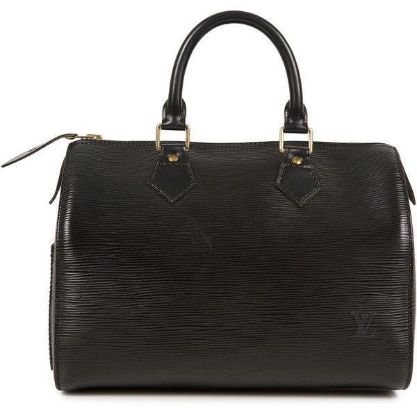 Louis Vuitton Vintage Vintage Speedy 25 Textured Leather Bowling Bag ($1,130) ❤ liked on Polyvore featuring bags, handbags, black, bowler purse, bowler bags, vintage handbags, zip bag and bowling bags