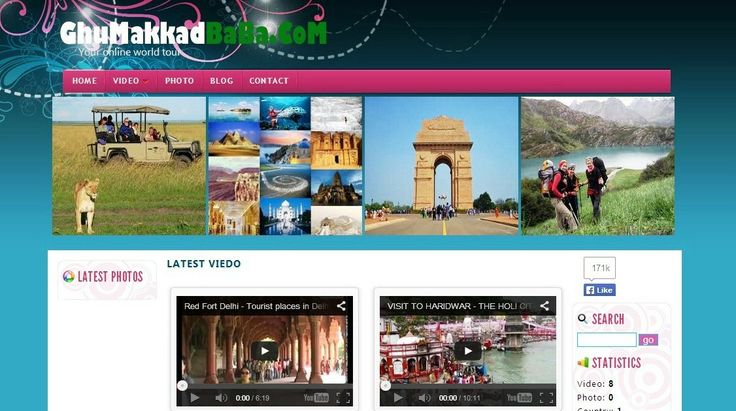 you can visit all over world with one click.so, immediate visit now..www.ghumakkadbaba.com