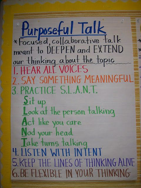 Purposeful Talk... with lots of modeling, this could be an awesome anchor chart to remind students of how to talk/listen to one another, especially with the onset of the new ELA common core state standards!!