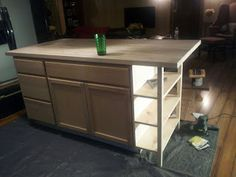 DIY Kitchen Island - Open shelving / stock cabinets