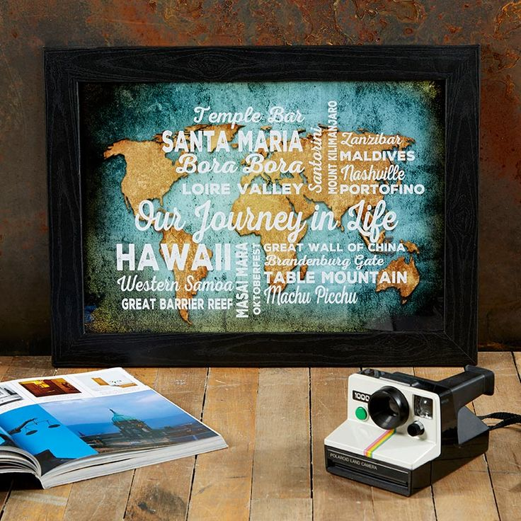 Our Journey in life custom print.  Namecheck all your favourite places from your travels and see your design come to life as you type. From £14.99