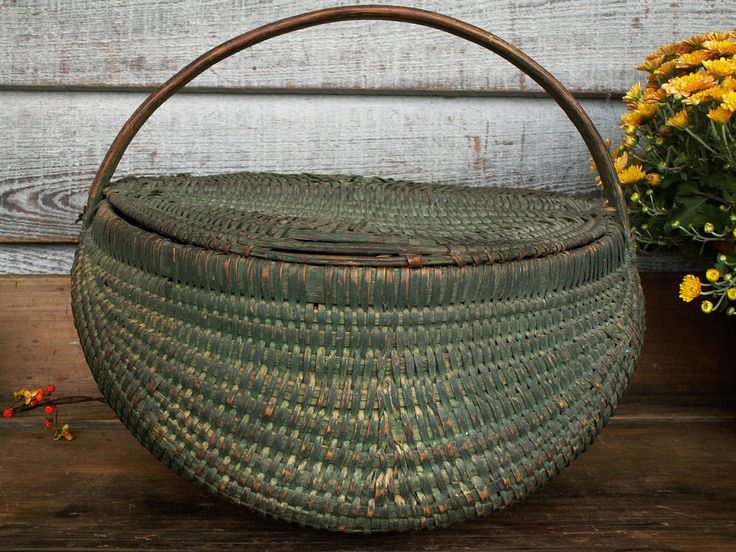 1800s Rare Large Buttocks Basket Double Lid Original Green Blue Paint Patina #NaivePrimitive