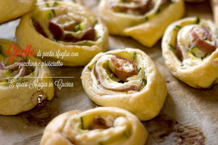 Girelle+di+pasta+sfoglia+con+zucchine+e+prosciutto,+finger+food