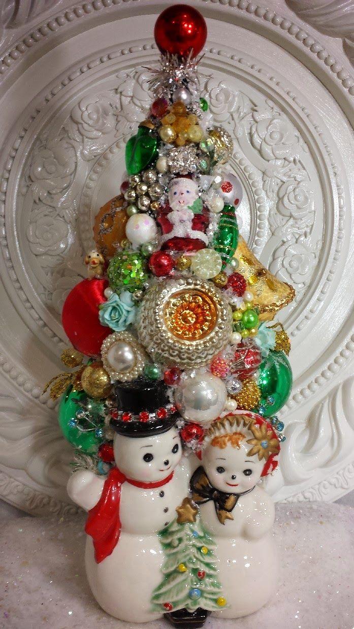 Vintage christmas tree ornaments - Ms Bingles Vintage Christmas Sneak Peek At This Weeks Bottle Brush Trees