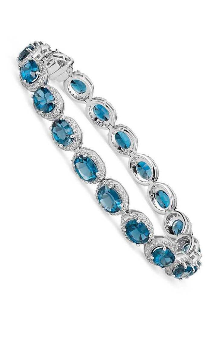 London Blue Topaz and White Topaz Halo Bracelet in Sterling Silver | #Wedding #Jewelry #Style