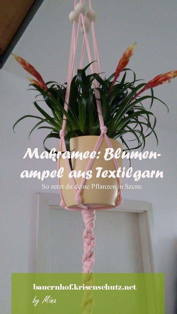 Makramee Blumenampel Aus Textilgarn Textilgarn Blumen