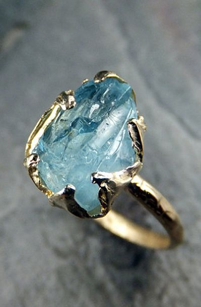 Raw Aquamarine Ring Solid 14K Gold Ring One of a Kind Uncut