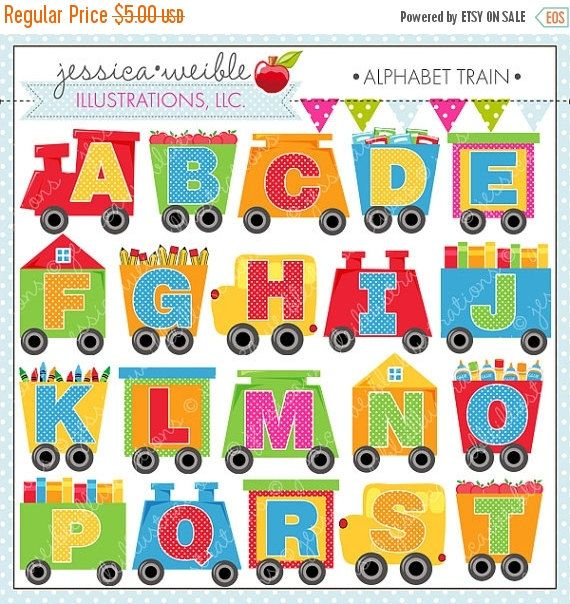 SALE Alphabet Train Cute Digital Clipart for by JWIllustrations