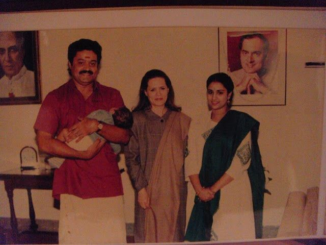 Suresh Gopi with his wife Radhika and child,met Sonia Gandhi rare pictures