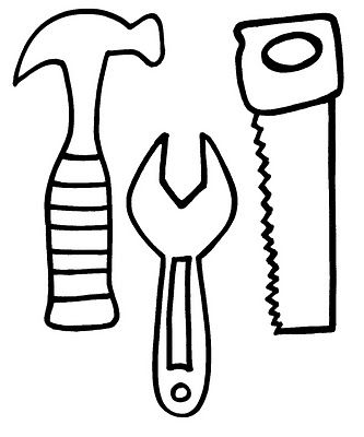 cut out these tools and glue them to a long piece of black construction paper to…