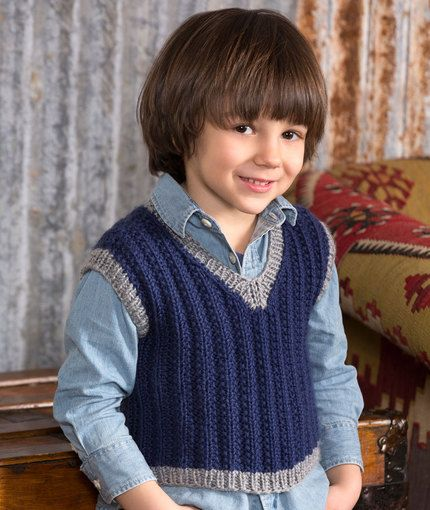 Boy's Seeded Rib Vest Knitting Pattern | Red Heart