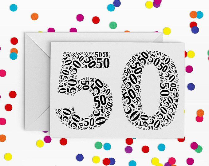 50 Birthday Card, Number fifty Card, 50th Birthday, Happy Birthday Card, 50th Birthday Card, just a card, milestone birthday