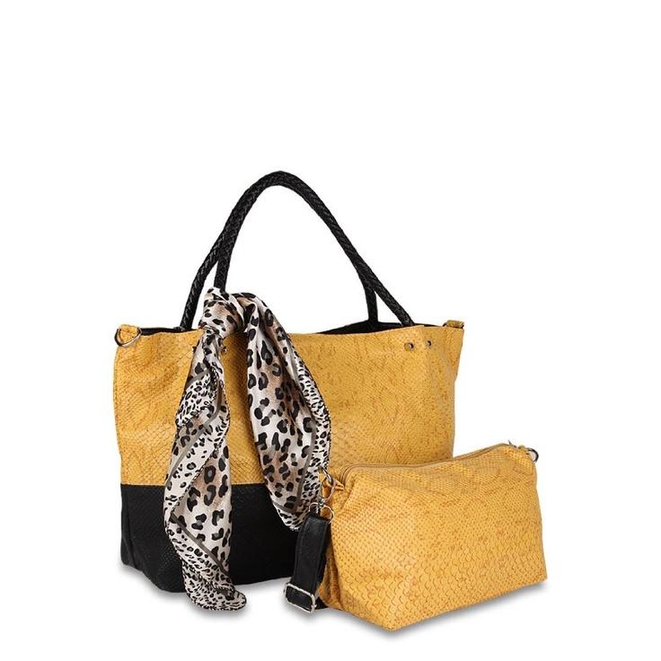 Yellow Leopard Print Handbag