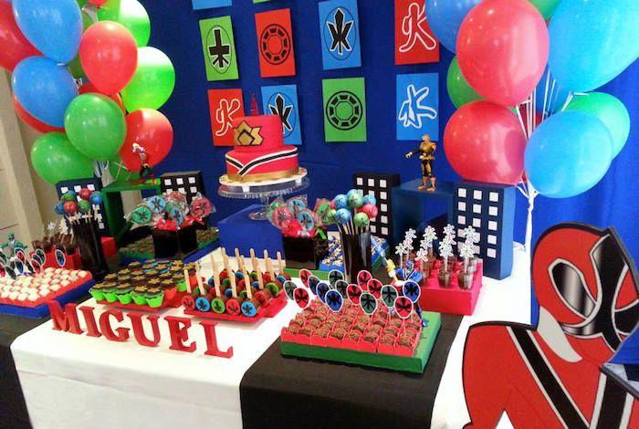 Power Rangers Samurai Birthday Party via Kara's Party Ideas KarasPartyIdeas.com Cake, supplies, decor, favors, food, and more! #powerrangers #powerrangersparty #samuraiparty (11)