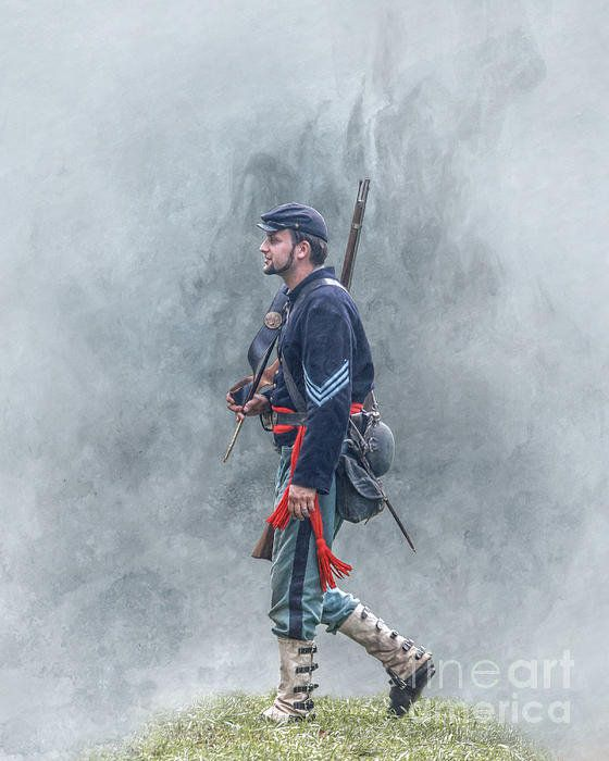 Marching Union Soldier Civil War Print By Randy Steele