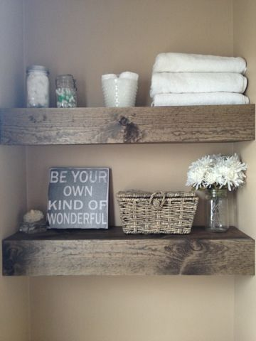 DIY Floating Shelves • Lots of Ideas & Tutorials! including these wonderful diy floating bathroom shelves from 'misadventures of the cranes'.
