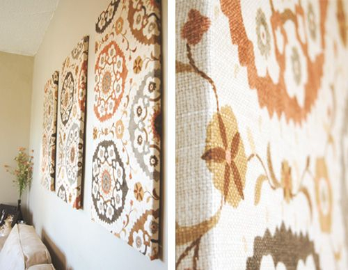 Wall Decoration Using Cloth : Fabric stretched over a wooden frame easy to change out