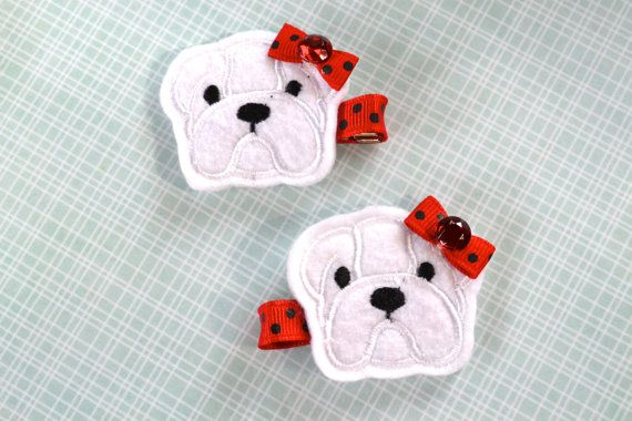 Georgia Style Bulldog Hair Clip - University Colors - Bulldog Hair Bow - Red and Black Dots - for girls, toddlers and babies