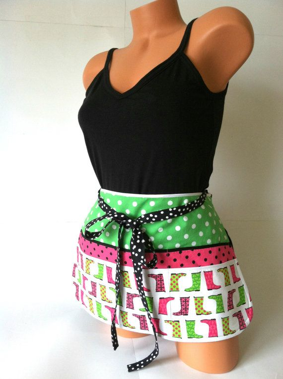 Looking for a fun teacher gift? This one's ready to ship! Fun Teacher Apron  Hot Pink Lime Green Black White by mizzeztee, $32.00