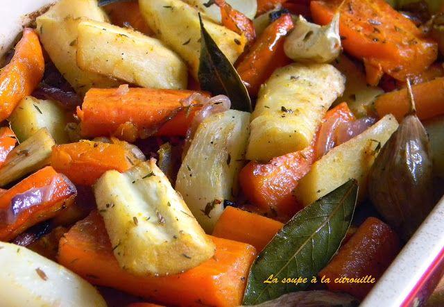 Légumes rôtis (carotte, panais, potimarrons) au jus d'orange et graines de cumin+ piments d'Espelette (topinambours, rutabagas, patates douces)