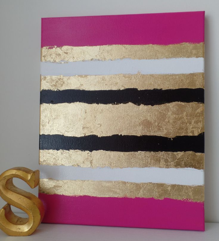 Title: Elle  Another addition to my Kate Spade Inspired Fashion Line! I originally designed this for a loyal client who now has four of my paintings in her home, so I named this one after her, Elle!! This was painted with professional acrylic paint on stretched canvas. This is unique due to the tri-color stripes accented with the gold leaf stripes. This is very shiny due to all of the gold-leaf incorporated into it.  It is a wonderful piece! It would be amazing on a gallery wall with another…