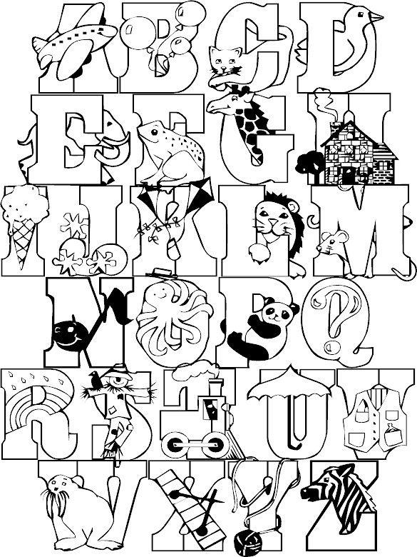 full alphabet coloring page colorpages coloring coloringpages - Alphabet Coloring Pages