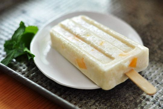 Coconut and Mango Rice Pudding Pops: Chewy rice adds texture to these Coconut and Mango Rice Pudding Pops, inspired by paletas, or Mexican Popsicles.  Source: The Kitchn