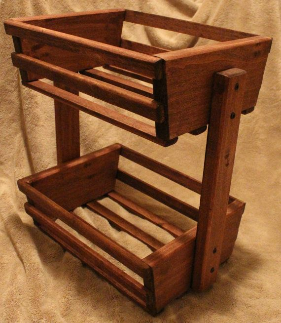 Stained Wooden Basket Holder Crate by TreeLineWoodProducts on Etsy