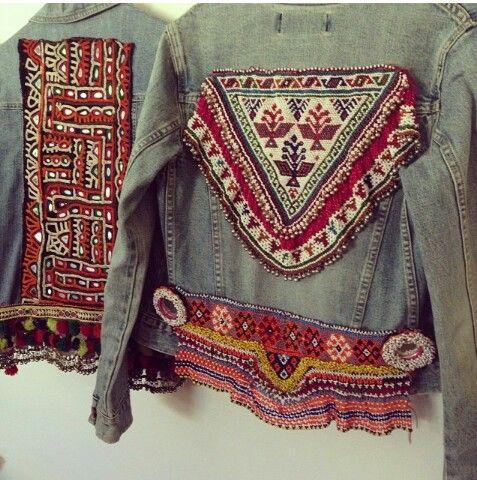DIY boho denim jacket - like bottom trim idea