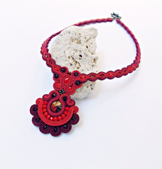 Soutache handmade jewelry. Cord necklace. Red necklace. Handmade statement soutache. Flashy jewelry. Unique gift for her.