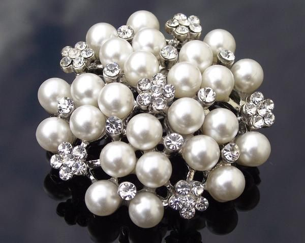 Wedding Brooches - Pearl Cluster Brooch, Vintage Style Pearl Brooch Pin, Nadine