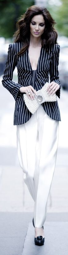 Armani - white pants and striped suit jacket with knotted detail