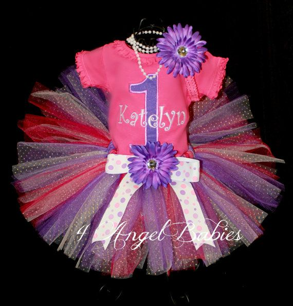 PERSONALIZED Hot Pink & Purple Dots Girls Birthday by 4AngelBabies, $53.94