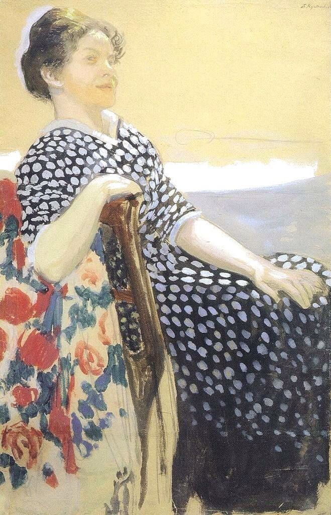 Boris Kustodiev / Борис Михайлович Кустодиев (Russian, 1878-1927) - Portrait of A.P. Ostroumova-Lebedeva, 1910, Watercolor, tempera on paper, 50×33 cm