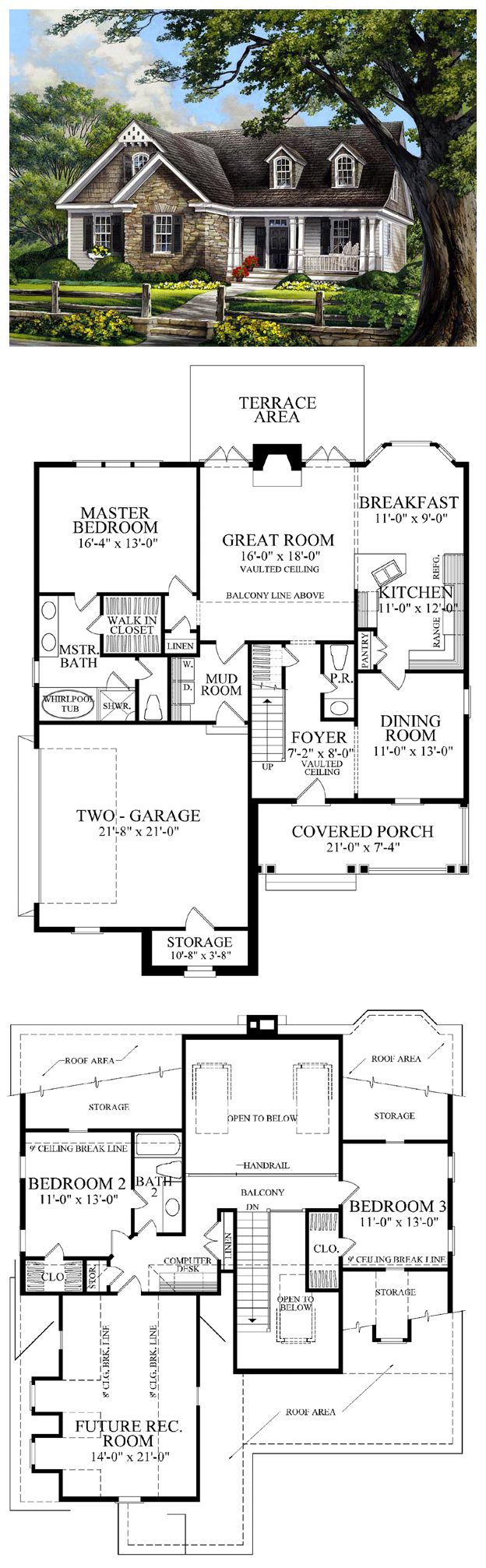 French Country House Plan 86109 has 2020 square feet of living space, 3 bedrooms and 2.5 bathrooms. The foyer opens to the formal dining room which has a service door to the kitchen. Enjoy a bay window in the breakfast room and french doors opening to the terrace area at the back of the house. Upstairs, bedrooms 2 & 3 share a balcony with a view of the great room downstairs. Space is also available for a future rec room. #frenchcountry
