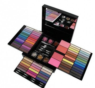 Kleancolor Legacy Professional Make up Kit, Set Contains 70 Eyeshadows, 3 Lip Gloss, 1 Liquid Eyeliner, 1 Brush, 5 Duo End Applicators, 1 Duo End Brush, 1 Lip Brush, 1 Mascara, 3 Glitter Powder, 4 Blu