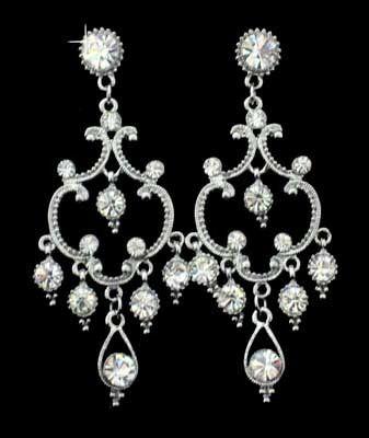 Silver Chandelier and Rhinestones Earrings
