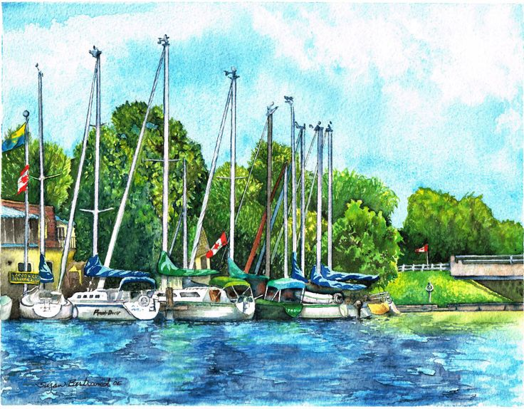 "Lagoon City Yacht Club. Watercolour on rag paper. 8 1/2"" x 11"". Gallery 7, Lagoon City, Brechin ON. Prints available"