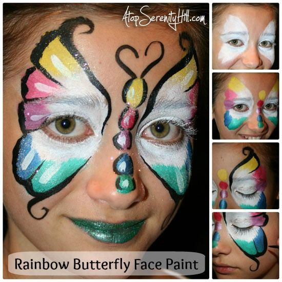 Rainbow Butterfly Face Paint Tutorial « Atop Serenity Hill