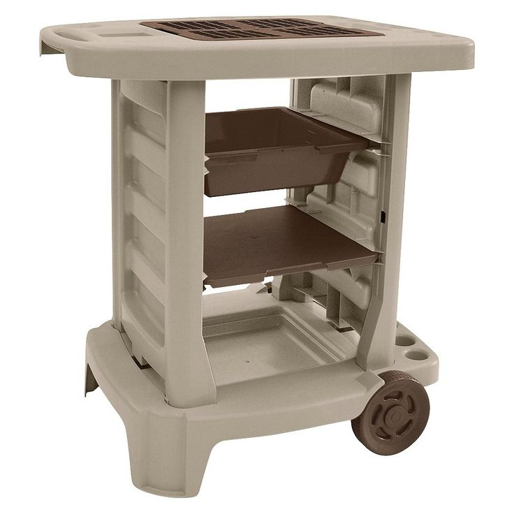 Suncast Portable 33 In X 33 In Resin Garden Cart Gc1500b At The Home Depot I Want This As A Grooming Cart Garden Cart Garden Tool Storage Portable Garden